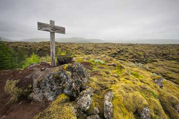 Grave, in the middle of lava field