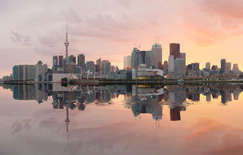 Toronto skyline, sunset